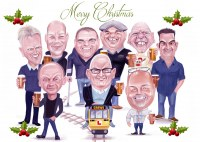 Christmas Card Caricature Uk Liverpol Manchester Lancashire London